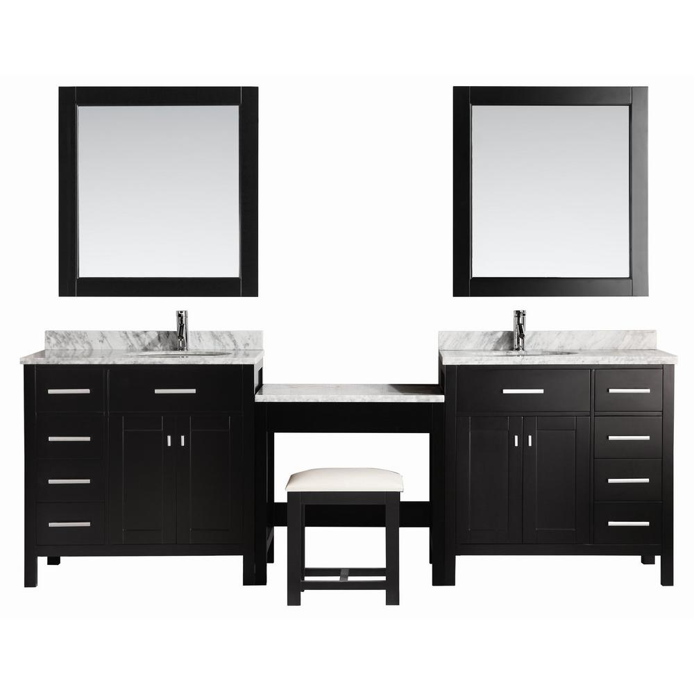Design Element Two London 36 In W X 22 D Vanity Espresso With Marble Top Carrara White Mirror And Makeup Table