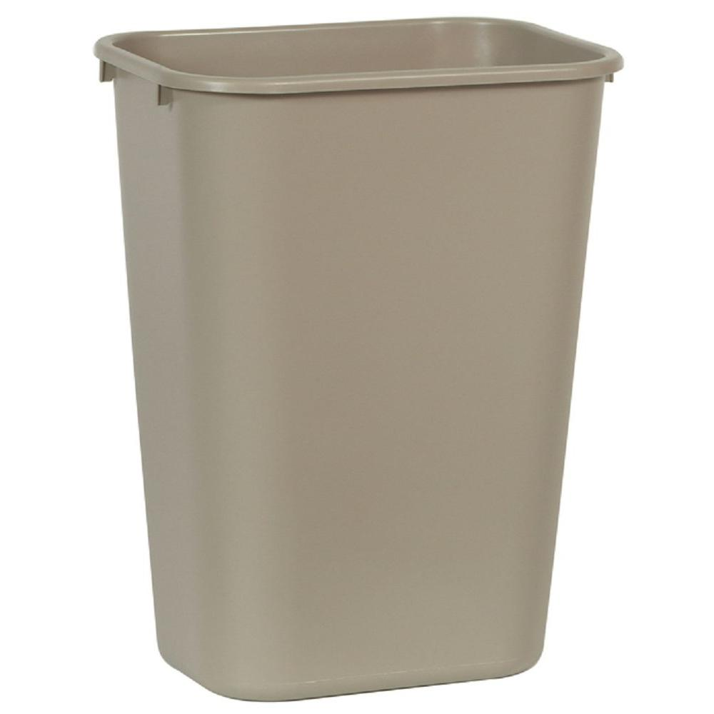 10.25 Gal. Beige Rectangular Trash Can