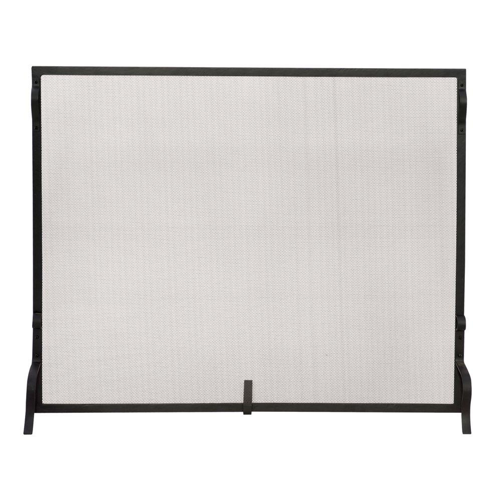 Uniflame Black Wrought Iron Large Single Panel Sparkguard Fireplace Screen S 1028 The Home Depot