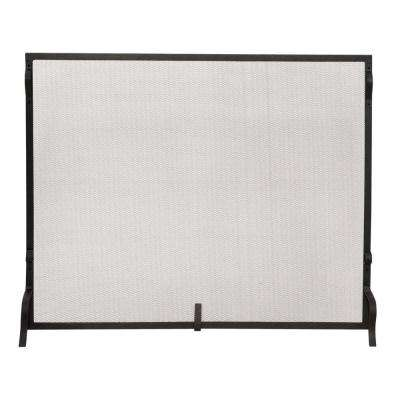 Black Wrought Iron Large Single-Panel Sparkguard Fireplace Screen