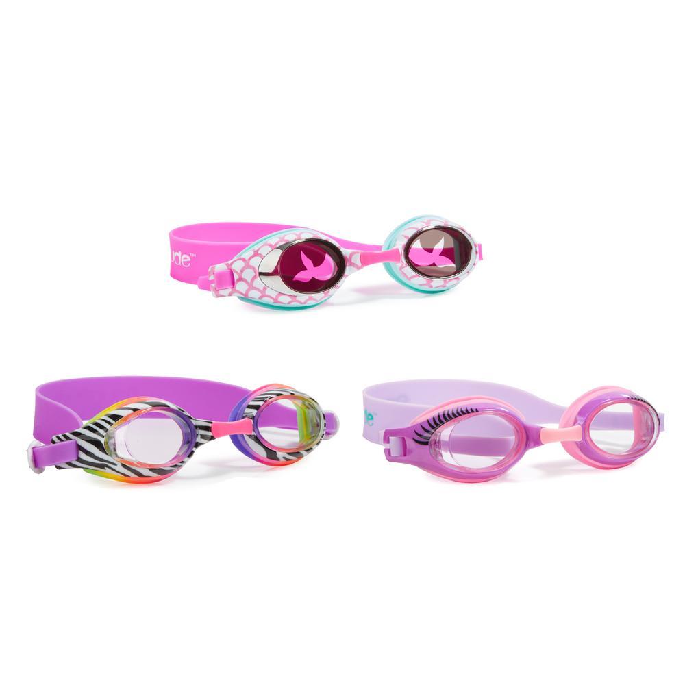 AQUA2UDE Girls Printed Classic Goggle (3-Pack), Rainbow