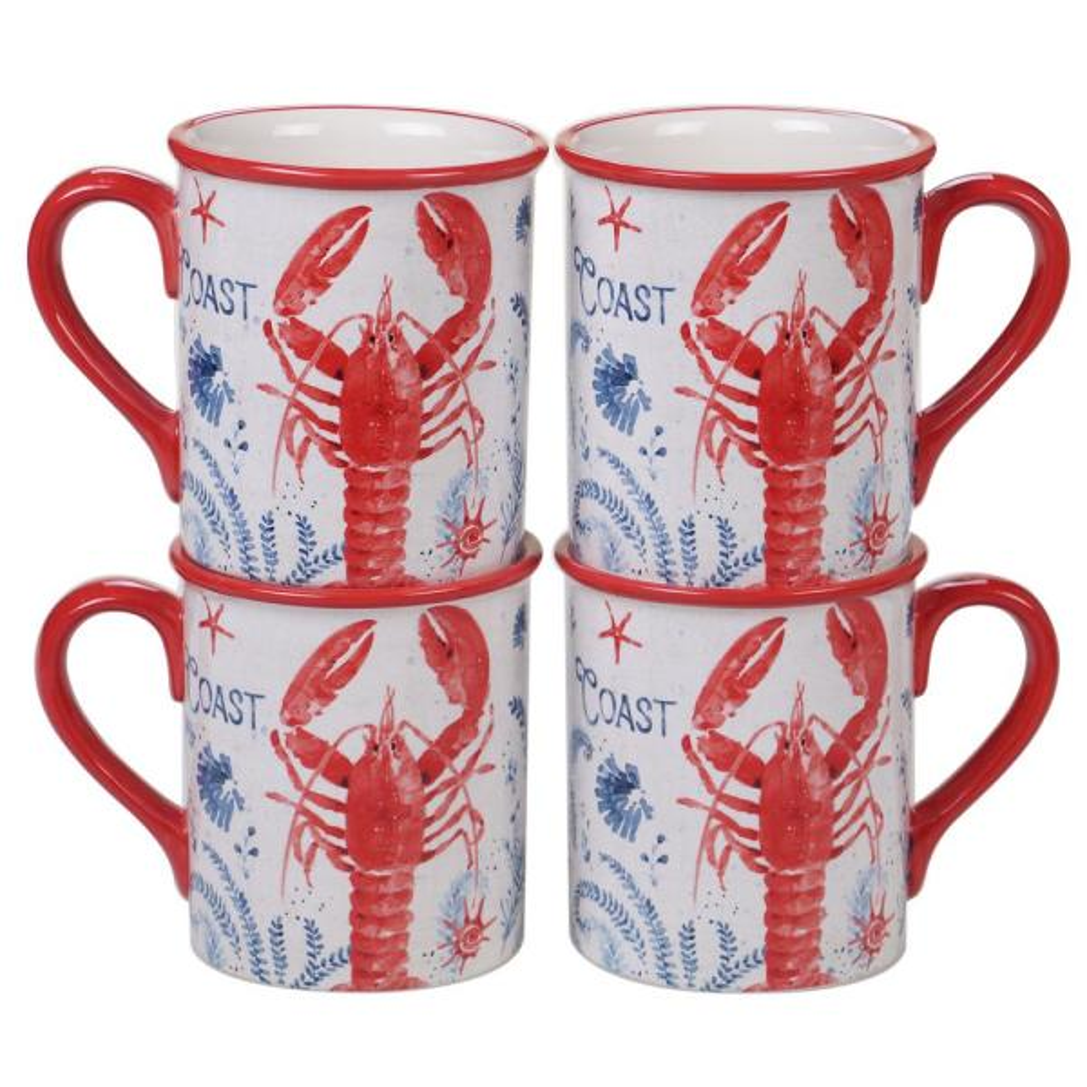 Nautical Life 4-Piece Country/Cottage Multi-Colored Ceramic 16 oz. Mug Set (Service for 4)