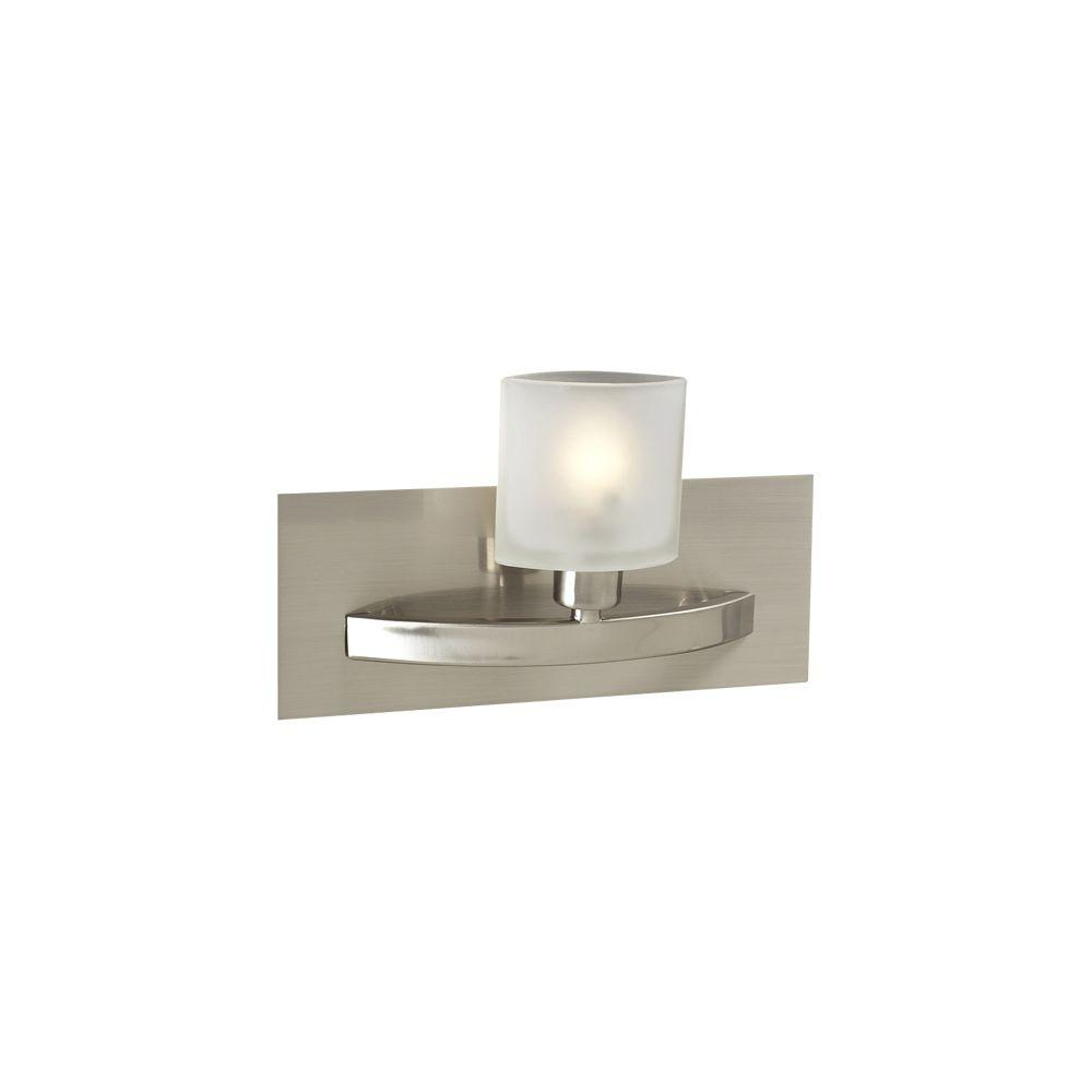 PLC Lighting 1 Light Wall Sconce Satin Nickel Finish Frost Glass