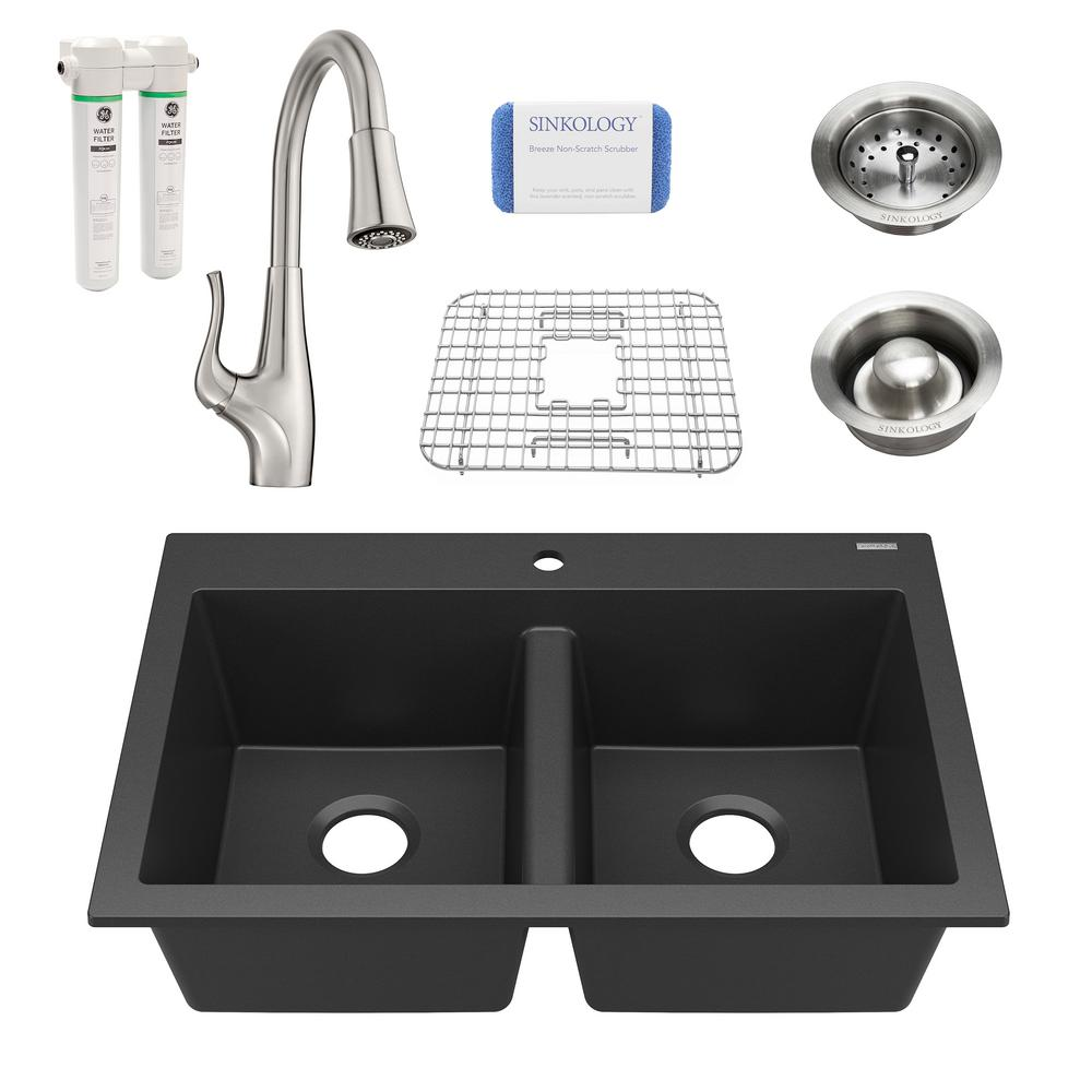 SINKOLOGY Whitney All-in-One Drop-In Granite Composite 33 in. 1-Hole Double Bowl Kitchen Sink with Pfister Faucet in Matte Black