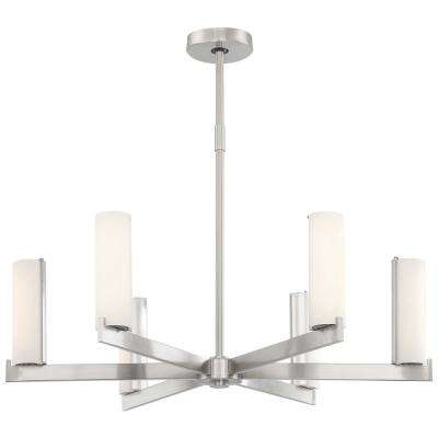 Tube 150-Watt Brushed Nickel Integrated LED Chandelier with Opal Glass Shade