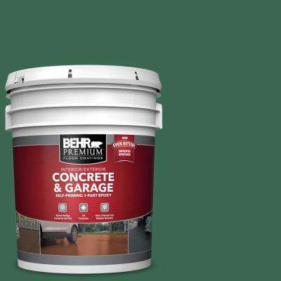5 gal. #M410-7 Perennial Green Self-Priming 1-Part Epoxy Satin Interior/Exterior Concrete and Garage Floor Paint