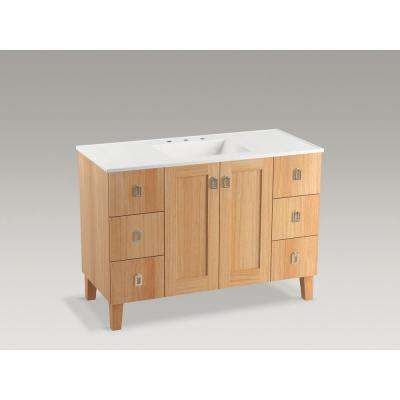 Poplin 48 in. W Vanity Cabinet in Khaki White Oak with Vitreous China Vanity Top in White Impressions with Basin