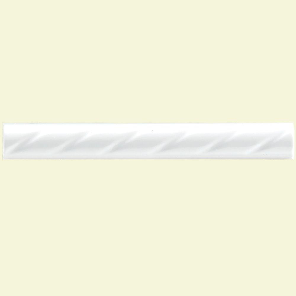Merola Tile White Rope 1 in. x 8 in. Ceramic Pencil Wall Trim Tile