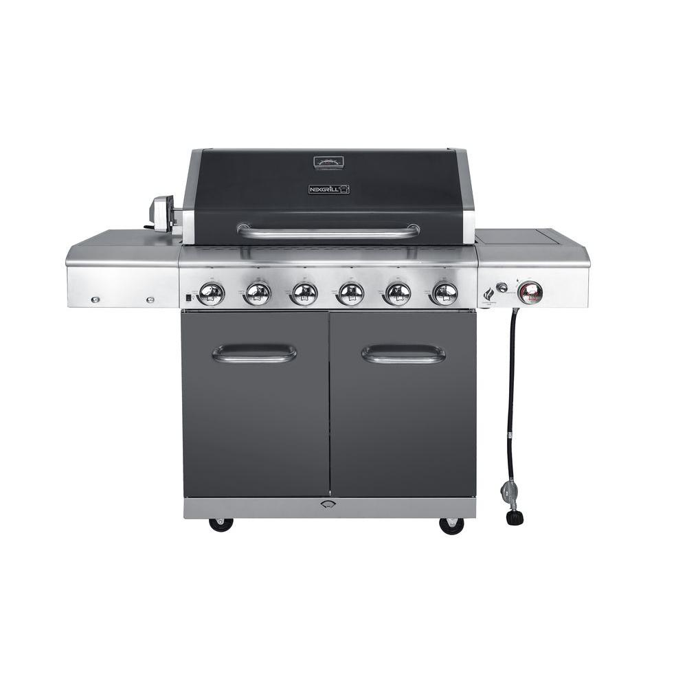 Nexgrill deluxe 6 burner propane gas grill in slate with ceramic nexgrill deluxe 6 burner propane gas grill in slate with ceramic searing side burner dailygadgetfo Image collections