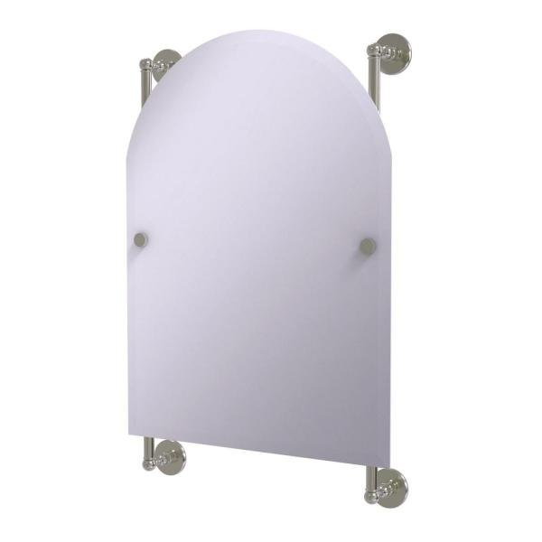 Prestige Skyline Collection Arched Top Frameless Rail Mounted Mirror in Satin Nickel