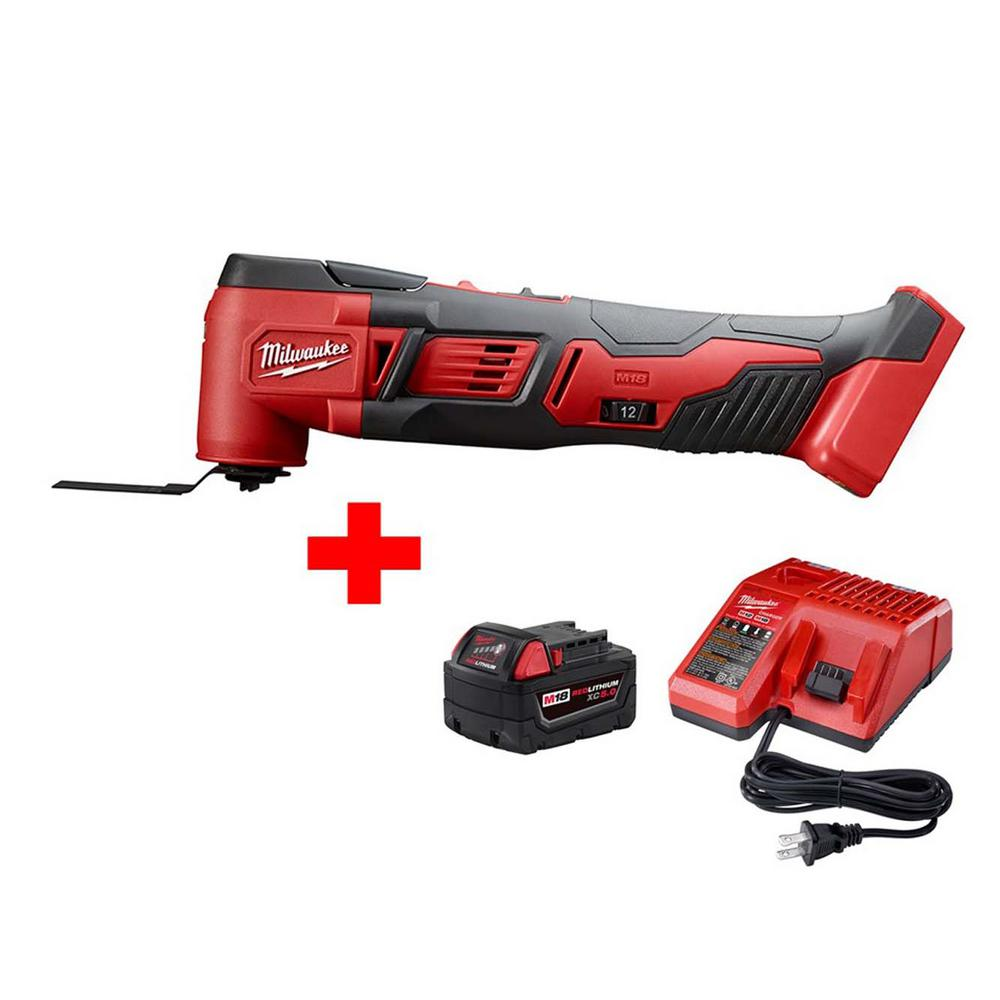 Milwaukee M18 18-Volt Lithium-Ion Cordless Oscillating Multi-Tool W/ M18 Starter Kit W/ (1) 5.0Ah Battery and Charger