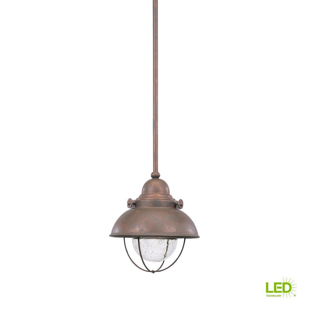 Sea Gull Lighting Sebring Weathered Copper Integrated LED Hanging Pendant