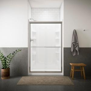 Sterling Finesse 47-5/8 inch x 70-1/16 inch Frameless Sliding Shower Door in Silver with Handle by STERLING