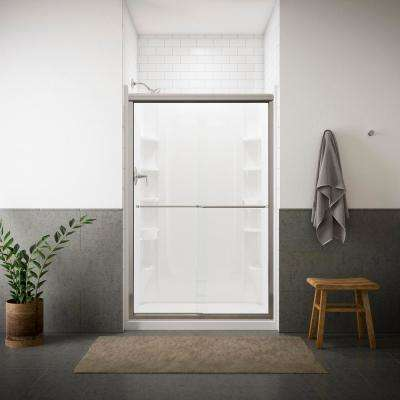 Finesse 47-5/8 in. x 70-1/16 in. Frameless Sliding Shower Door in Silver with Handle