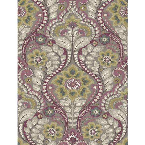 A-Street 56.4 sq. ft. Night Bloom Grey Damask Wallpaper 2763-12103