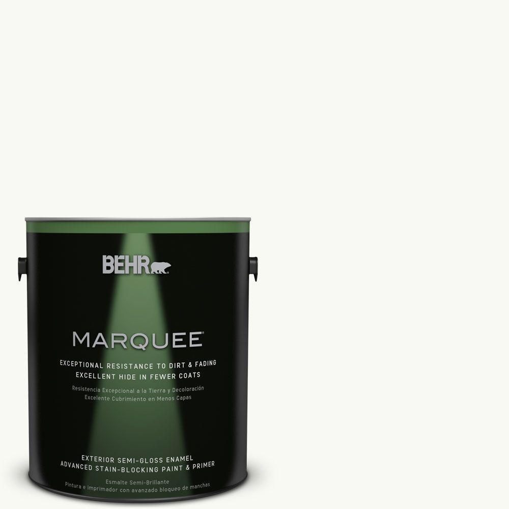 BEHR MARQUEE 1-gal. #PR-W15 Ultra Pure White Semi-Gloss Enamel Exterior Paint