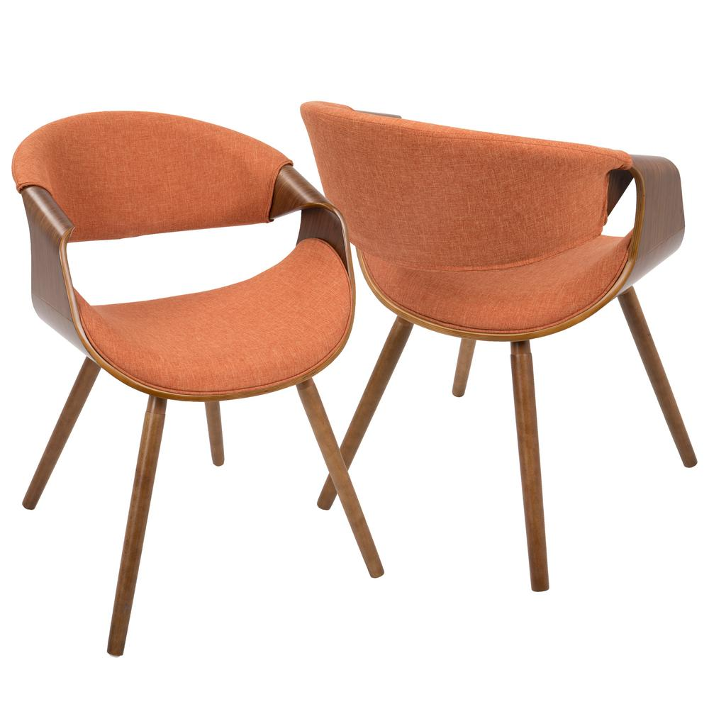 Captivating Curvo Walnut And Orange Accent Chair