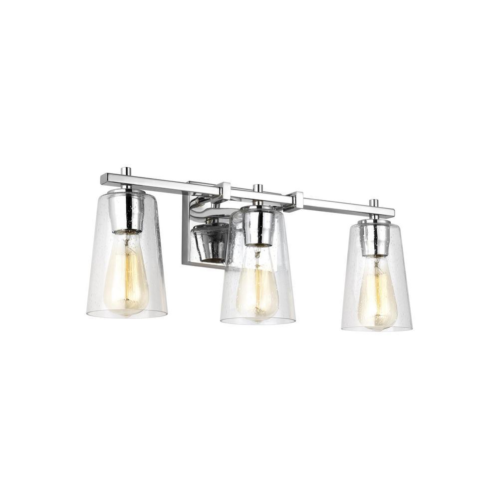 Mercer 3-Light Chrome Bath Light