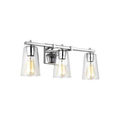Mercer 3-Light Chrome Bath Light