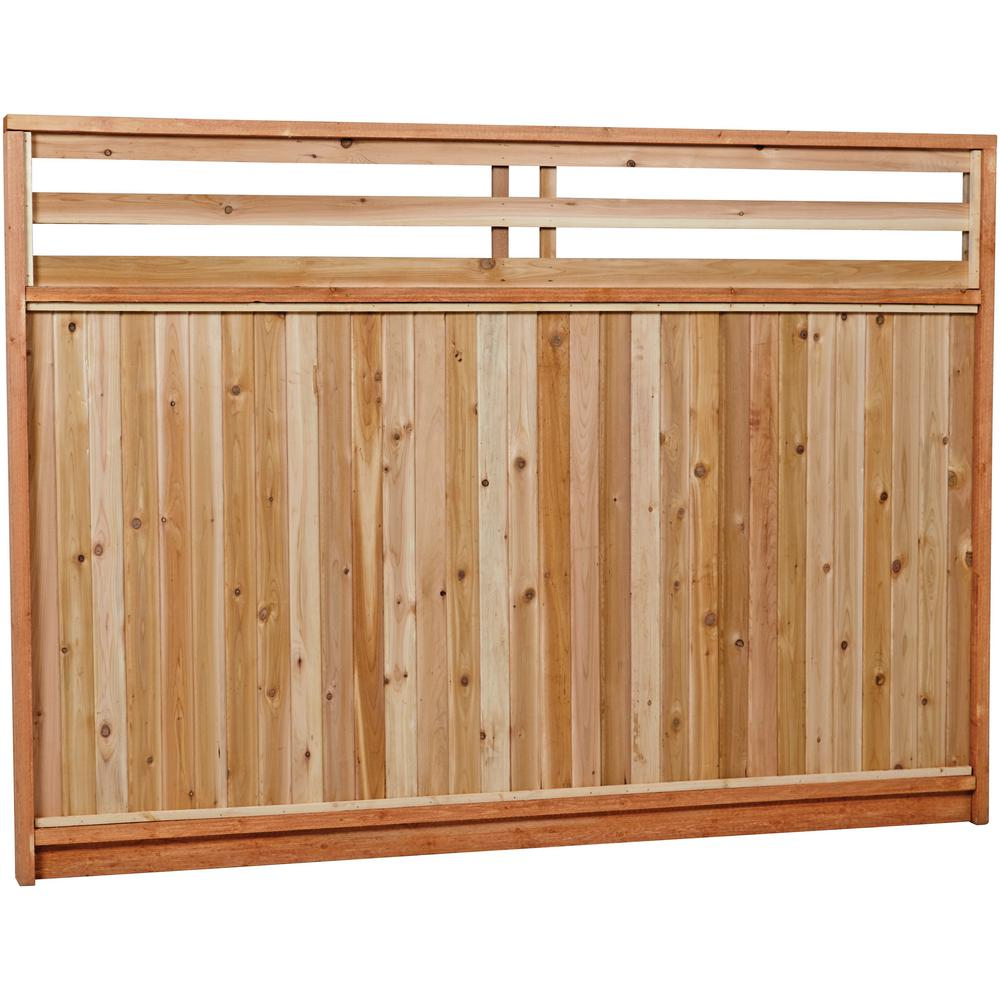 6 ft. x 8 ft. Premium Cedar Venetian Top Fence Panel
