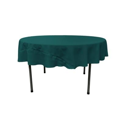 72 in. Dark Teal Round Polyester Poplin Tablecloth