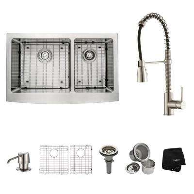 All-in-One Farmhouse Apron Front Stainless Steel 33 in. Double Bowl Kitchen Sink with Faucet in Stainless Steel