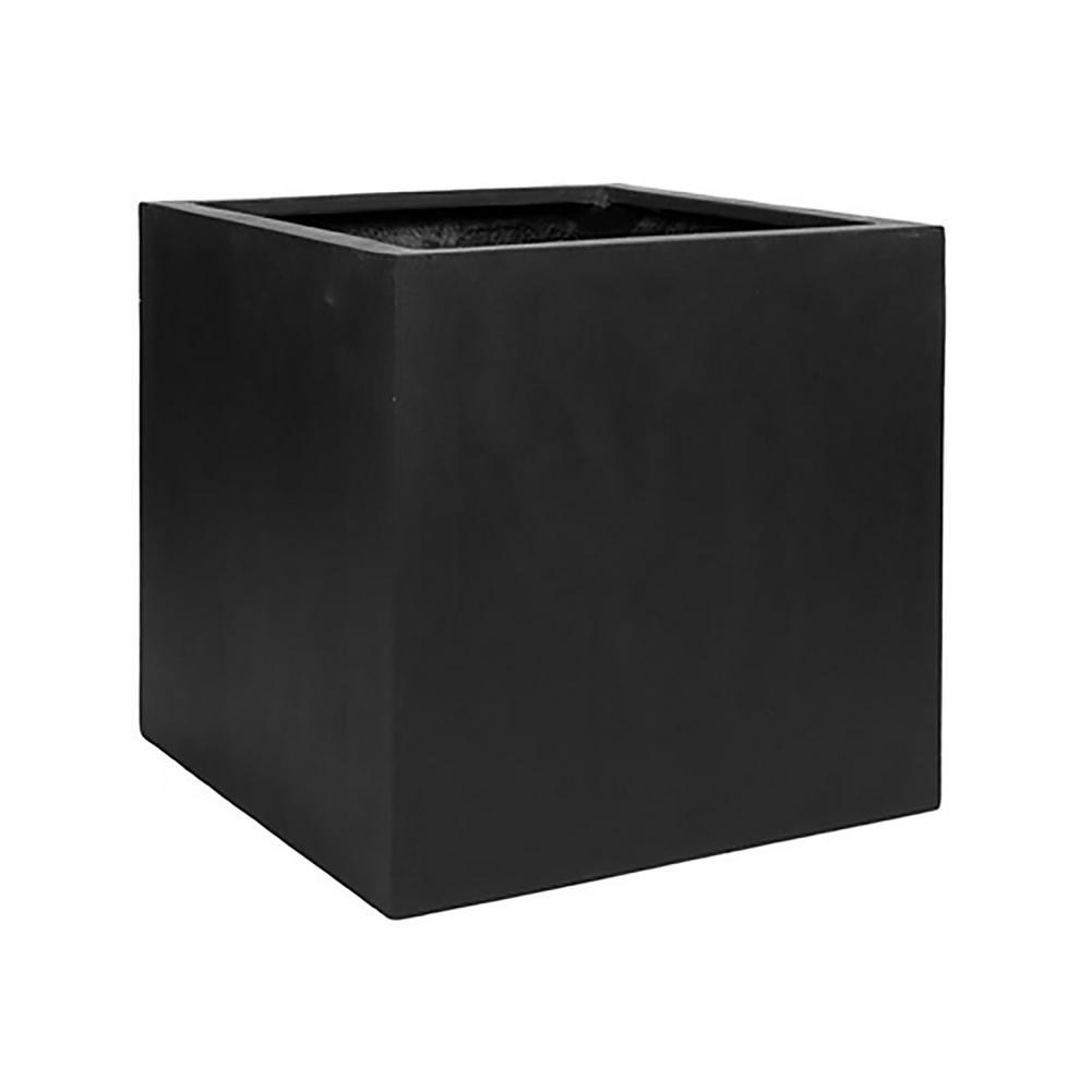 16 in. x 16 in. Matte Black Fiberstone Square Cube Planter