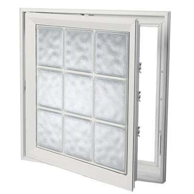21 in. x 21 in. Left-Hand Acrylic Block Casement Vinyl Window with White Interior and Exterior