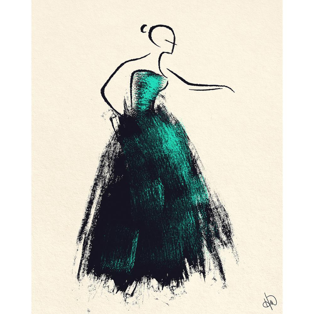 "16 in. x 20 in. ""Formal Dress Jade"" Acrylic Print Wall Art"