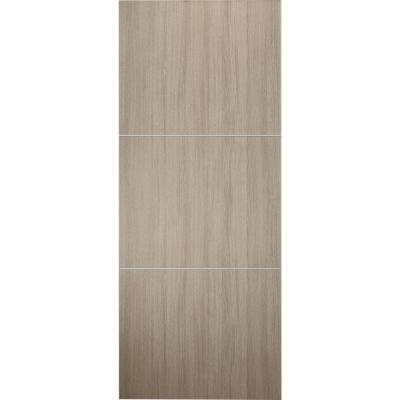 24 in. x 80 in. Viola 2H Shambor Finished with Aluminum Strips Solid Core Composite Interior Door Slab No Bore