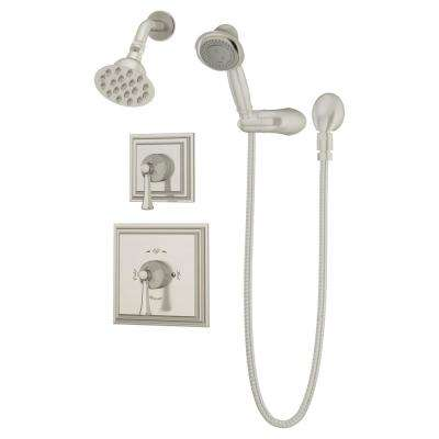 Canterbury 1-Handle Wall Mounted Shower Trim Kit in Satin Nickel with Hand Shower (Valve Not Included)