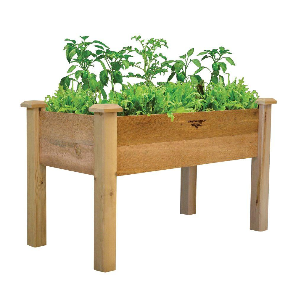 Gronomics 24 in. x 48 in. x 32 in. - 9 in. D Rustic Elevated Garden Bed