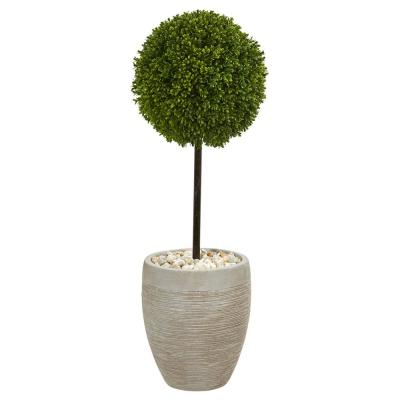 3 ft. High Indoor/Outdoor Boxwood Ball Topiary Artificial Tree in Oval Planter