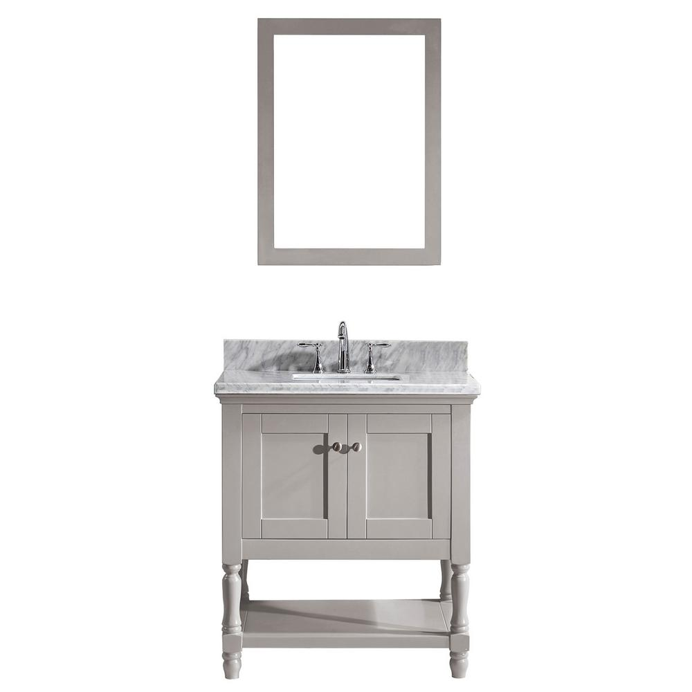 Virtu USA Julianna 32 in. W Bath Vanity in Gray with Marble Vanity Top in White with Square Basin and Mirror