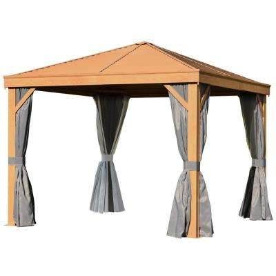 10 ft. x 10 ft. Backyard Steel Hardtop Canopy Gazebo with Screened Curtains, Sling Netting, Strong Frame