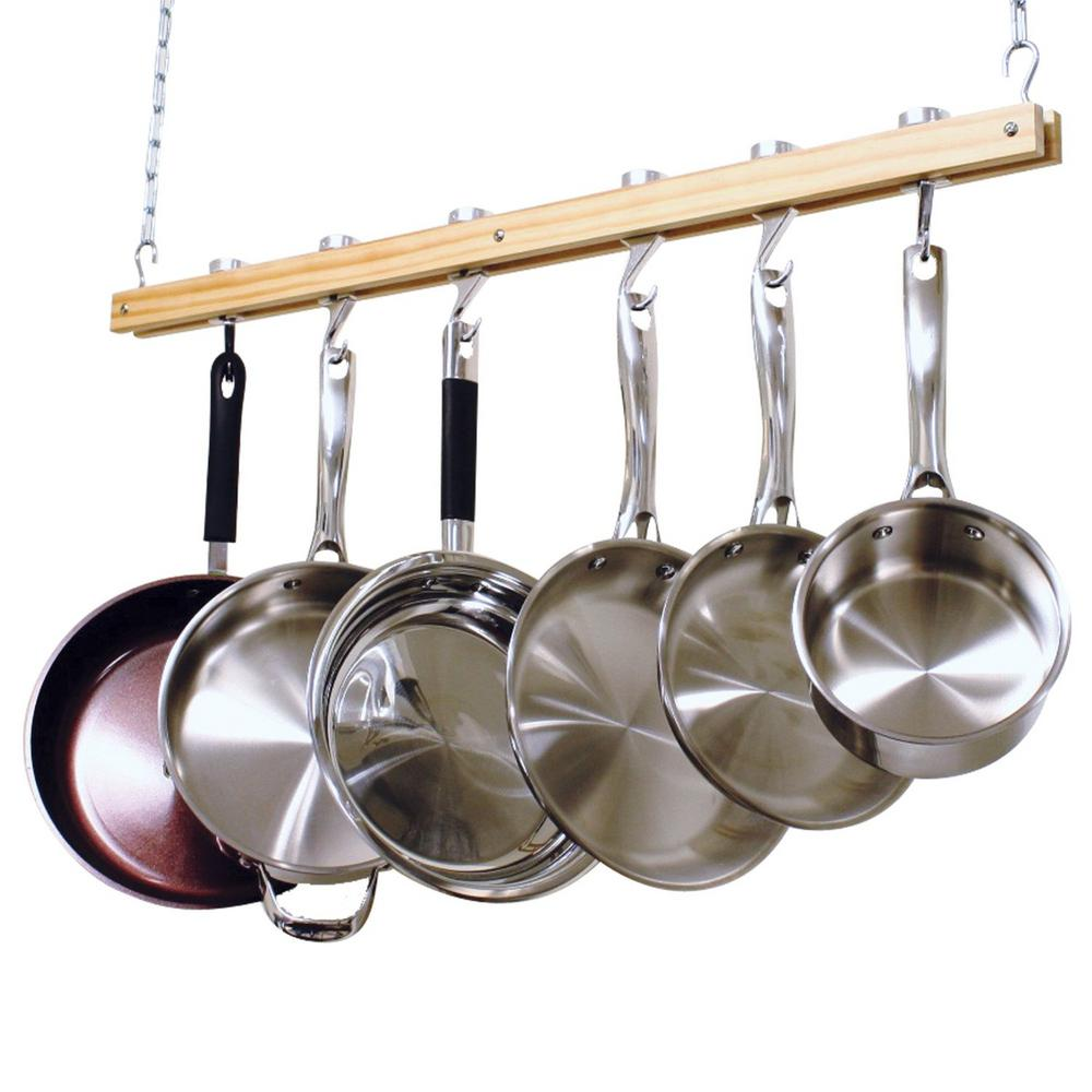 Single Bar Ceiling Mounted Wooden Pot Rack