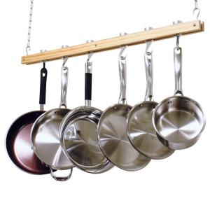 Cooks Standard 36 inch Single Bar Ceiling Mounted Wooden Pot Rack by Cooks Standard