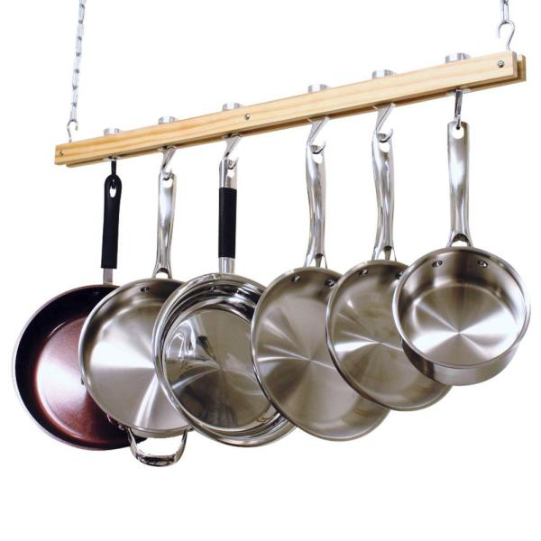 36 in. Single Bar Ceiling Mounted Wooden Pot Rack