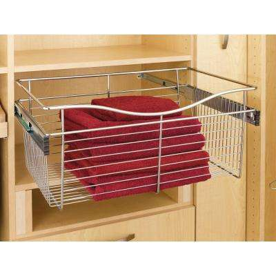 11 in. H x 24 in. W x 14 in. D Satin Nickel Closet Pull-Out Basket