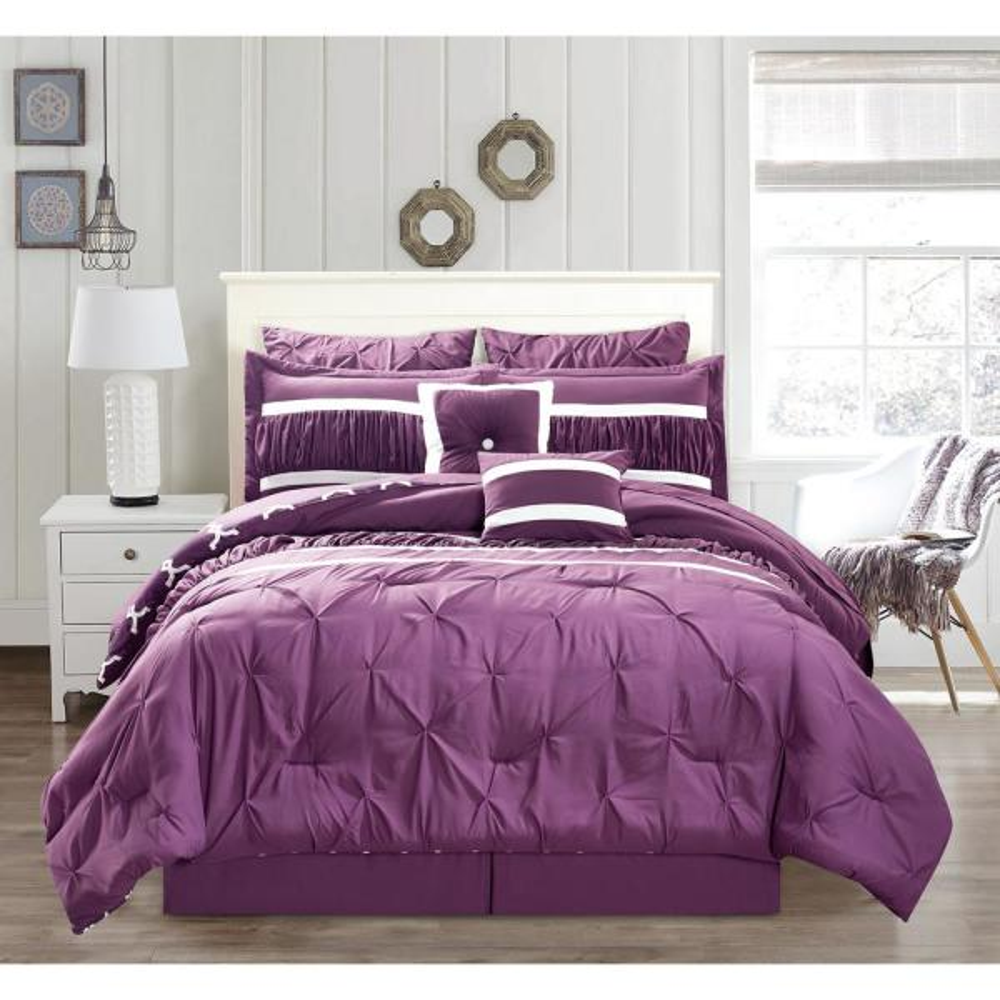 Marlin 10-Piece Plum King Comforter Set