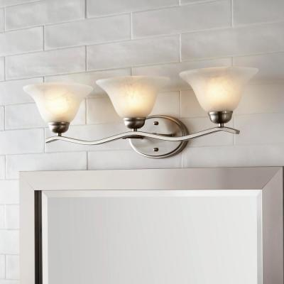 Andenne 3-Light Brushed Nickel Vanity Light with Bell Shaped Marbleized Glass Shades