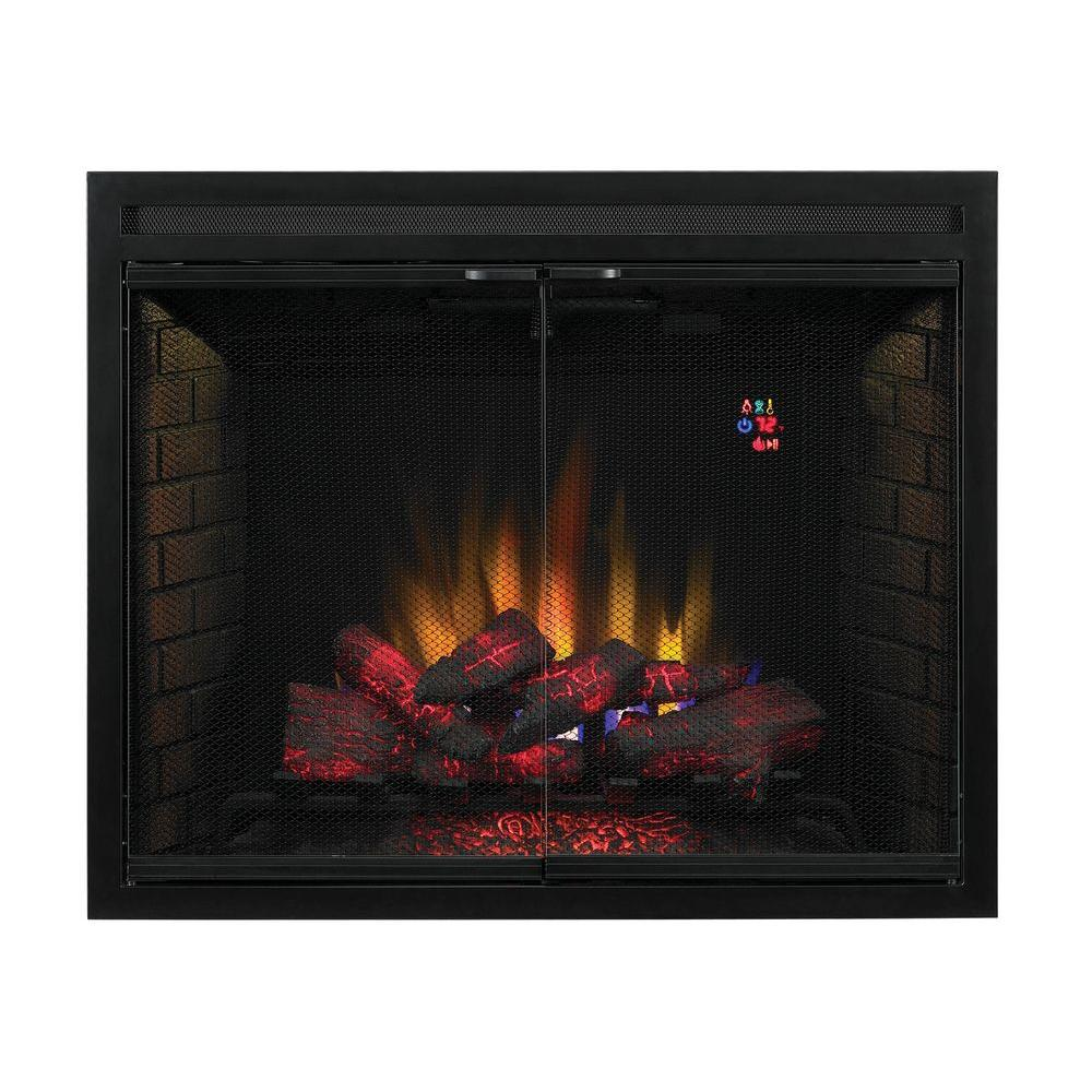 Traditional Built In Electric Fireplace Insert With Gl Door And Mesh