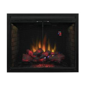 Make a cheerful addition to any space by using this SpectraFire Traditional Built-in Electric Fireplace Insert with Glass Door and Mesh Screen.