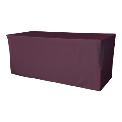 72 in. L x 24 in. W x 30 in. H Eggplant Polyester Poplin Fitted Tablecloth
