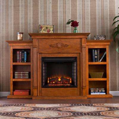 Jackson 70 in. Freestanding Media Electric Fireplace TV Stand with Bookcases in Glazed Pine