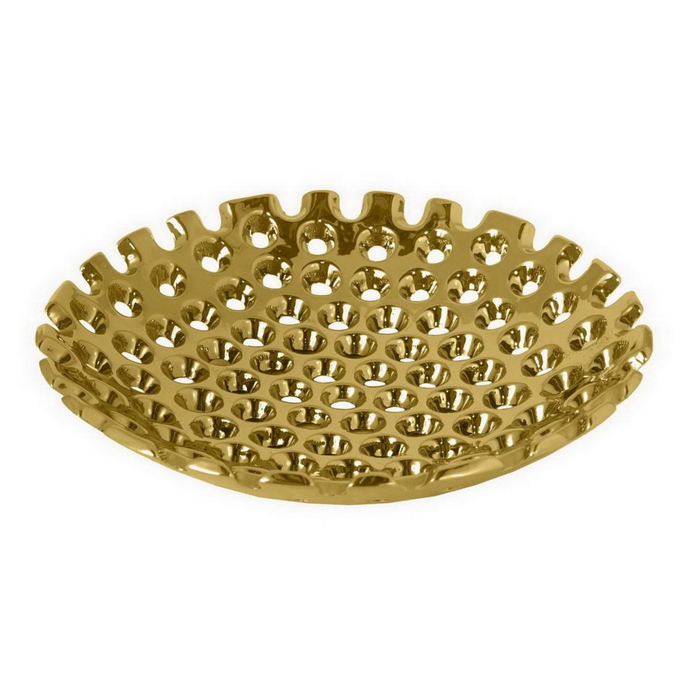 THREE HANDS 14.5 in. x 14.5 in. Gold Ceramic Plate-17799 - The Home ...