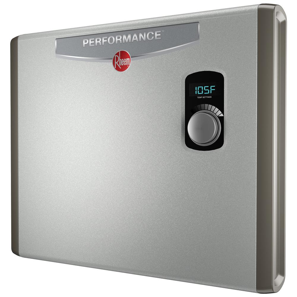 electric tankless water heater rheem performance 36 kw self modulating 6 gpm electric 10887