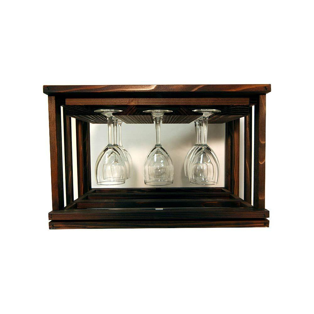 Mini Stack Series-Glass Rack Dark Walnut Stain 11-15/16 in. H x