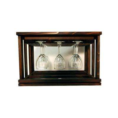 Mini Stack Series-Glass Rack Dark Walnut Stain 11-15/16 in. H x 18-11/16 in. W
