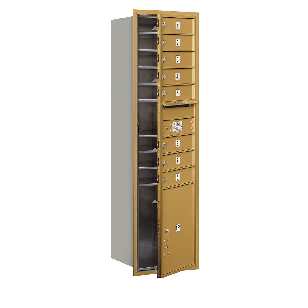 Salsbury Industries 55 in. H x 16 3/4 in. W Gold Front Loading 4C Horizontal Mailbox with 8 MB1 Doors/1 PL5